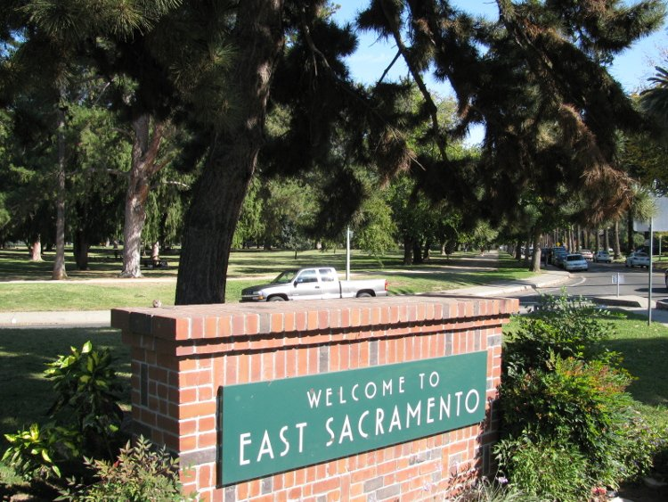 The sign at the entrance to the East Sacramento (East Sac) neighborhood in Sacramento's downtown core.