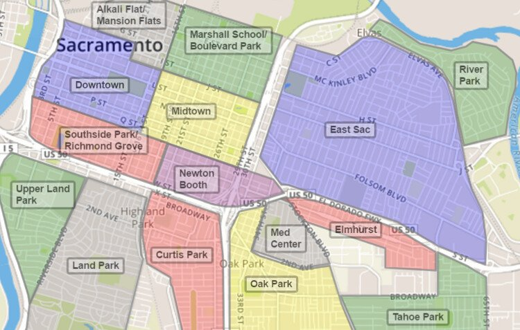 Sacramento Neighborhood Map