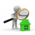 A figure inspecting a house with a magnifying glass.